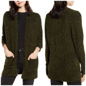 BP Olive Green Cozy Boucle Open Front Cardigan